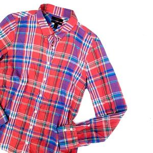 J. Crew Perfect Red Blue Plaid Button Down Top